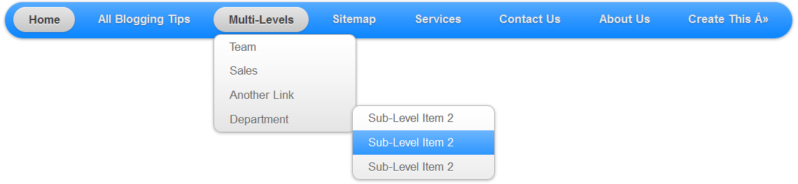 Stylish Pure CSS3 Multi Level Drop Down Menu For Blogger V2