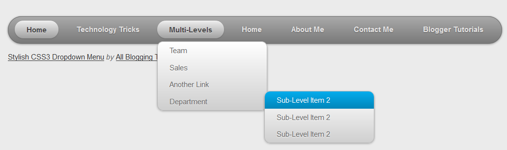 Pure CSS3 Multi Level Drop Down Menu For Blogger V1