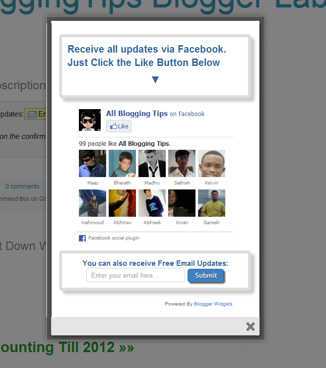 jQuery Popup For Facebook Like Box