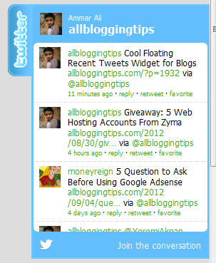 Cool Floating Recent Tweets Widget for Blogs