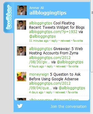 cool floating twitter follower box