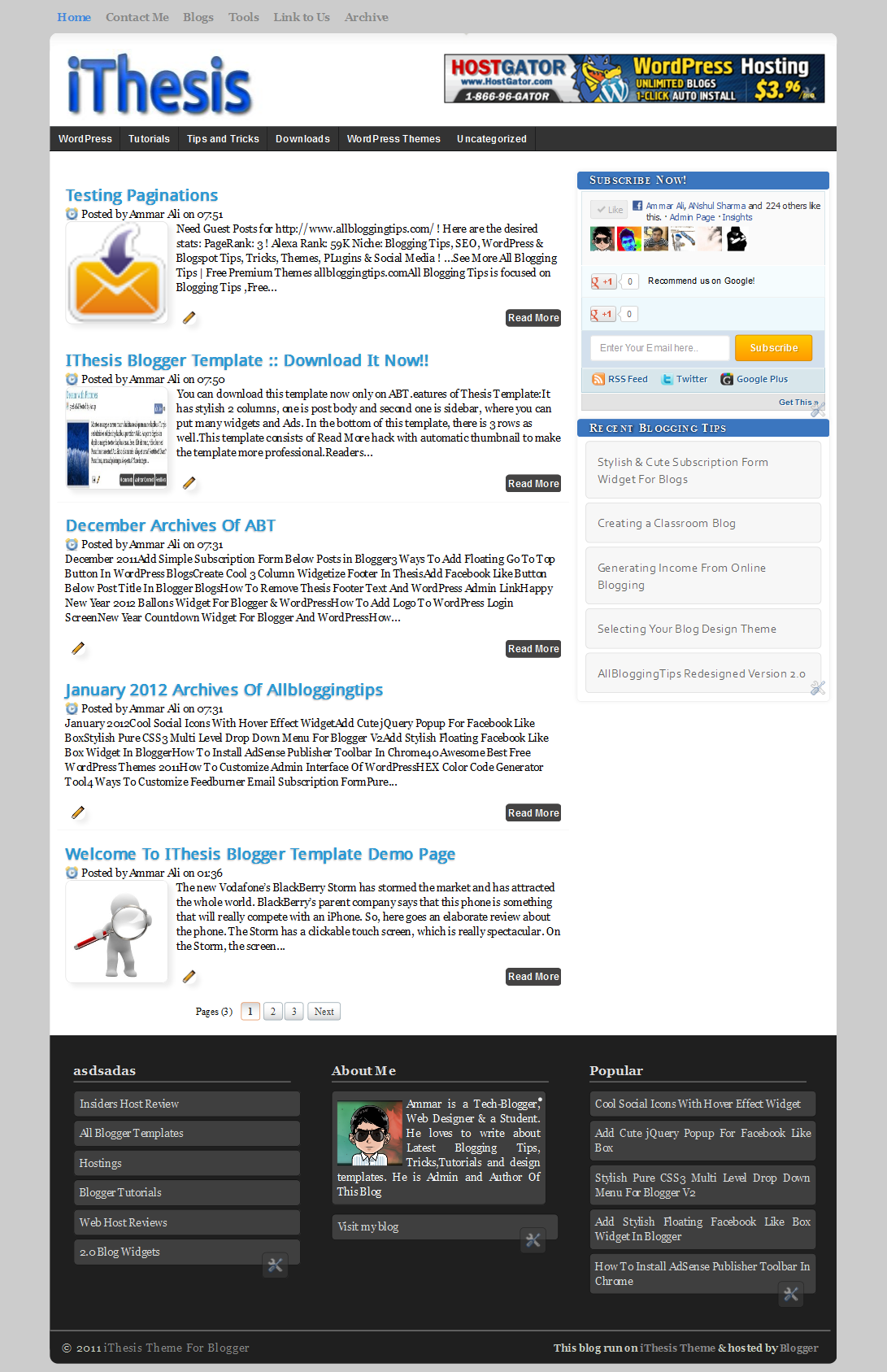 iThesis Theme For Blogger