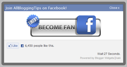 jQuery Popup For Facebook Like Box With Timer!