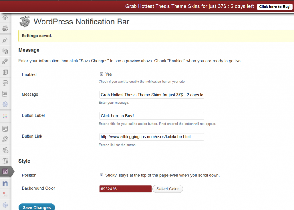 configure WP notification bar