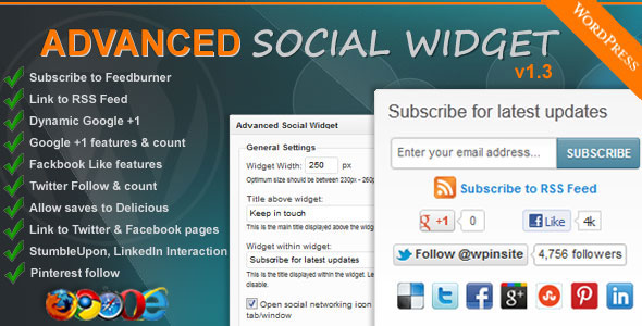 Advance Social Subscription Widget Preview!