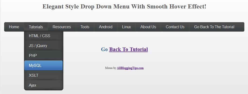 elegant style drop down menu