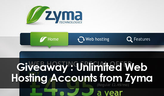 Giveaway: 5 Web Hosting Accounts From Zyma