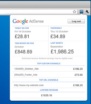 Adsense Earning Toolbar
