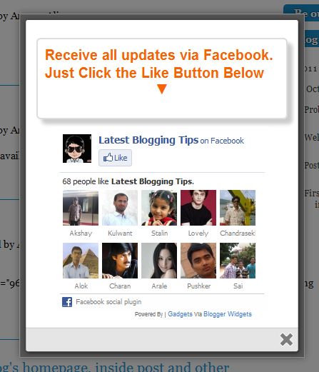 cute facebook popup