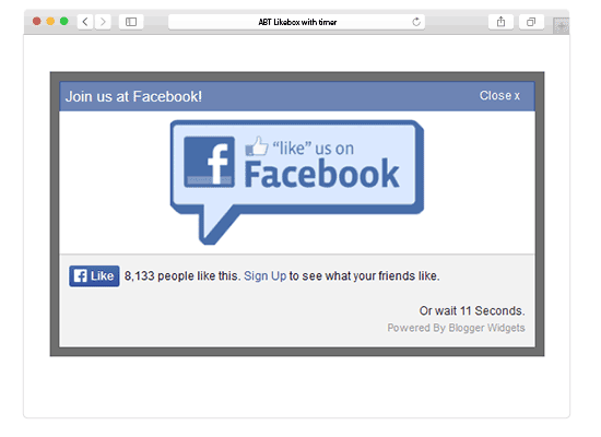 jQuery Popup For Facebook Like Box With Timer – Easy To Use