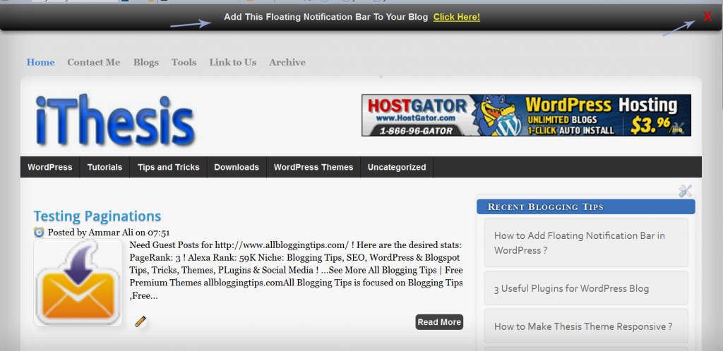 Blogger floating notification bar copynotification