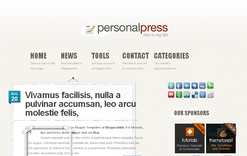 Personal-Press-Blogger-Template