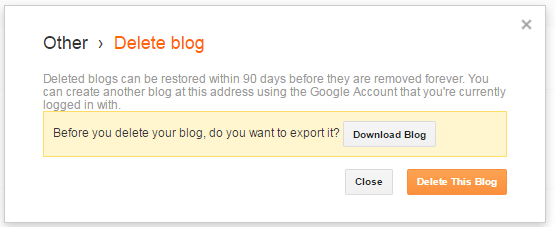 last step to delete blogger blog