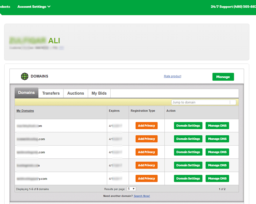 godaddy-account-dashboard